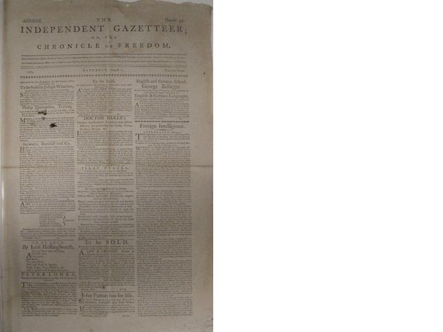 REVOLUTIONARY WAR ERA JEWISH MERCHANT. The Independent Gazeteer; or, The Chronicle of Freedom. Philadelphia, PA: August 2, 1783.