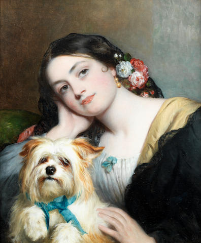 Charles  Baxter (British, 1809-1879) Her favorite pet 24 x 20 1/4in. (61 x 51.5cm.)
