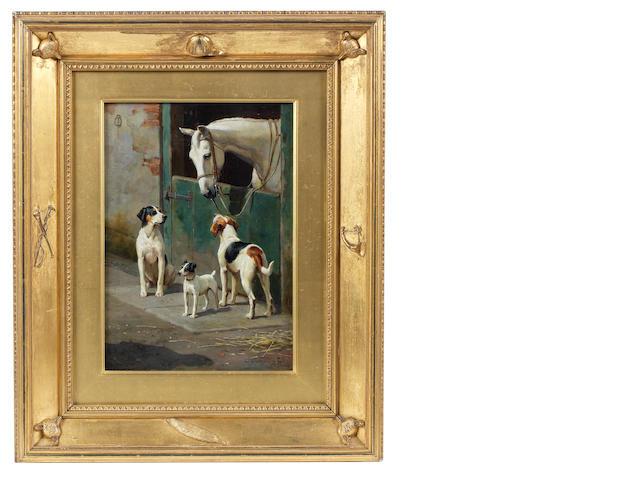 Alfred Duke (British, 1863-1905) Hunting companions 14 x 10in. (35.5 x 25.5cm.)