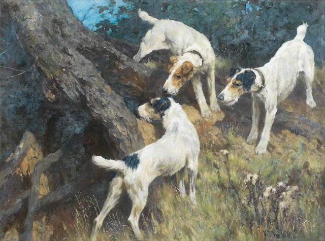 Arthur Wardle, RI (British, 1864-1949) On the alert 18 x 24in. (45.5 x 61cm.)