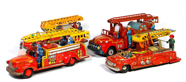 Lithographed Friction Fire Engines