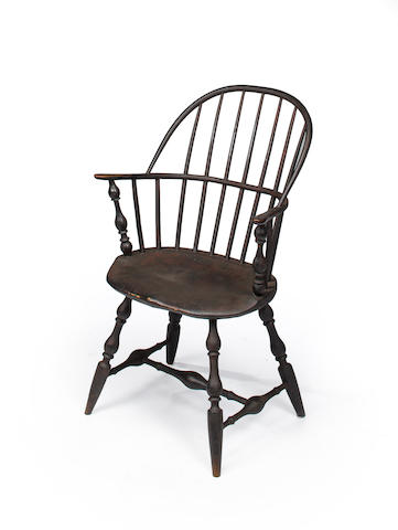 A black-painted sack-back Windsor armchair New England, Possibly Connecticut, third quarter 18th century