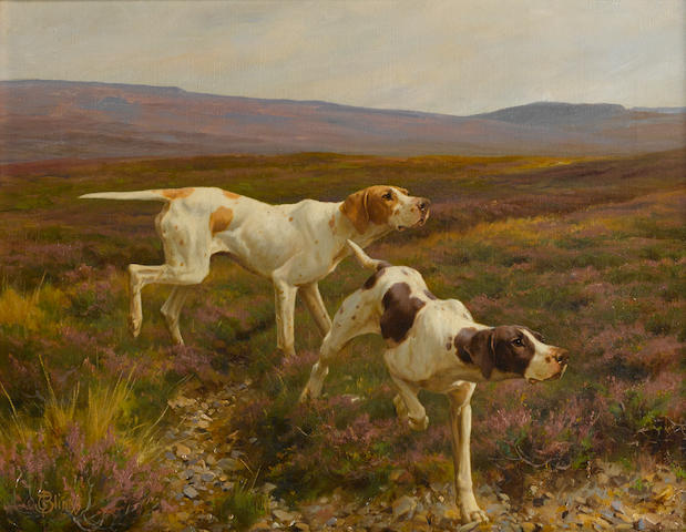 Thomas Blinks (British, 1860-1912) English Pointers in a landscape 14 x 18in. (35.6 x 45.8cm.)