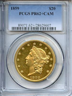 1859 $20 Proof 62+ Cameo PCGS