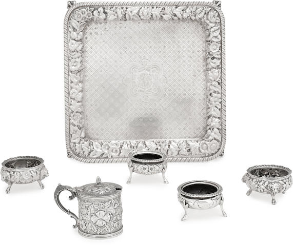 An assembled group of six American sterling silver similar floral chased and engraved table articles by various makers, Philadelphia, PA, late 19th century