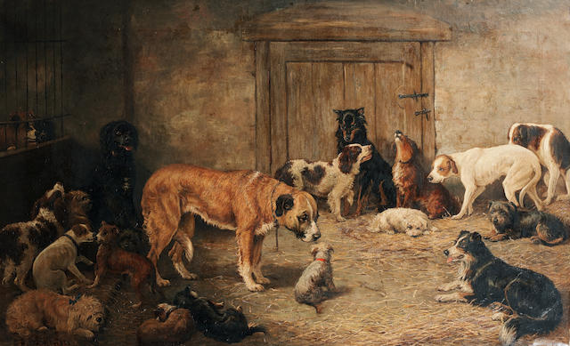 William Elstob Marshall (British, late 19th century) Temporary lodgings down at the dogs home 32 1/4 x 53in. (82 x 134.5cm.)