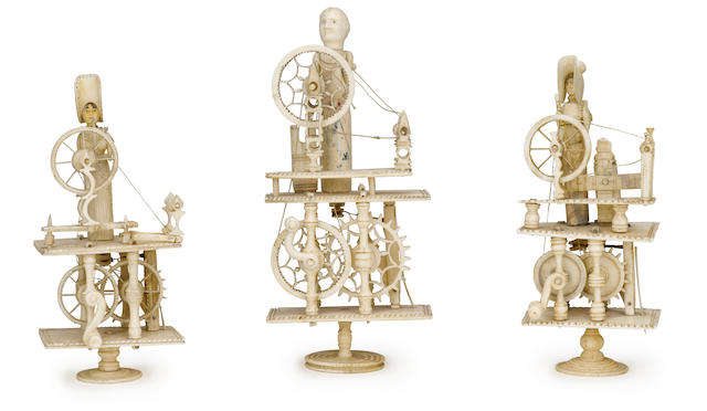 A Napoleonic prisoner-of-war mechanical spinning Jenny early 19th century 6 in. (15.2 cm.) height.