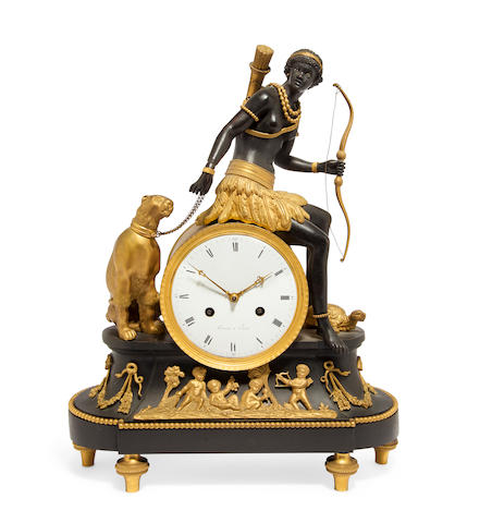 "A fine Directoire patinated and gilt bronze allegorical mantel clock ""au bon sauvage"" with figure personifying Africa the dial signed Terrien à Parisfirst quarter 19th century"