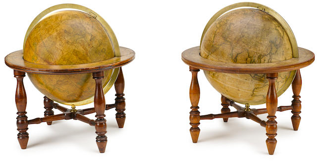 A pair of 12-inch table-top globes18in. (45.7cm.) high