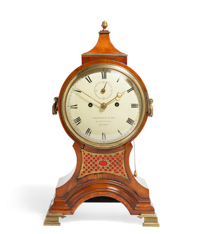 A George III satinwood striking balloon clock  signed Leplastrier & Son, London first quarter 19th century