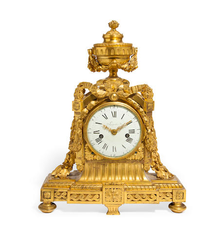 A fine Louis XVI ormolu mantel clock the dial signed Lepaute, the case attributed to Robert Osmond, circa 1770