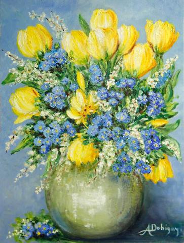 Annie Dobigny (21st century) Tulips in a vase 14 x 10 3/4in