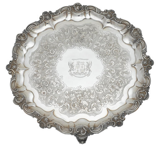 A Victorian  sterling silver circular footed salver by George John Richards, London, 1848