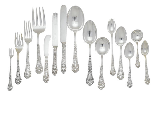 An assembled American  sterling silver  flatware service for twelve  by Gorham Mfg. Co., Providence, RI, late 19th/early 20th century