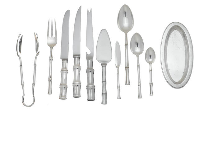 An American  sterling silver  part flatware service for twelve by Tiffany & Co., New York, NY,  mid-20th century