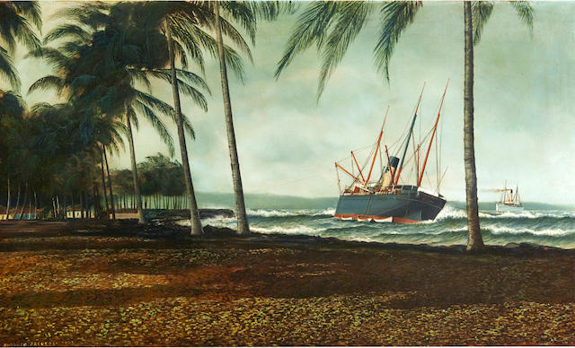 Antonio Nicolo Gasparo Jacobsen (American, 1850-1921) The ship Hero aground off a tropical beach22 x 30 in. (55.8 x 76.2 cm.)