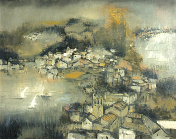 Arthur Okamura (American, 1932-2009) Spanish port 24 x 30in