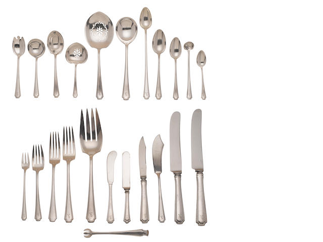 An American  sterling silver part flatware service for twelve by Towle Silversmiths, Newburyport, MA,  second quarter 20th century