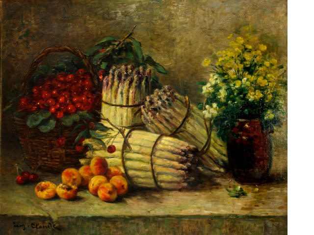 Eugene Claude (French, 1841-died circa 1922) A still life with asparagus, cherries, peaches and flowers 23 3/4 x 28 1/2in