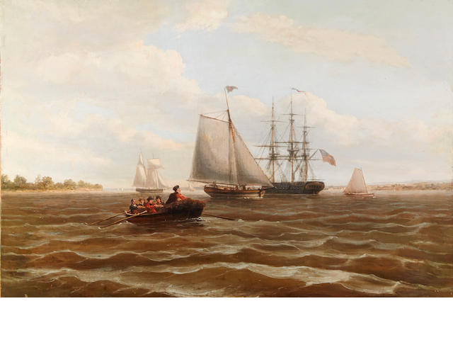 Thomas Birch (AMERICAN, 1779-1851) Shipping on the East Coast of America 18-1/8 x 27-1/4 in. (46.4 x 69.2 cm.)