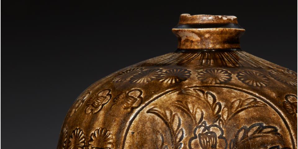 A large and rare Ko-Seto heishi (flask) Kamakura period (early 14th century)