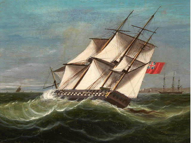 James Edward Buttersworth (British/American, 1817-1894) A British frigate on-the-wind 7 x 9-1/4 in. (17.7 x 23.4 cm.)