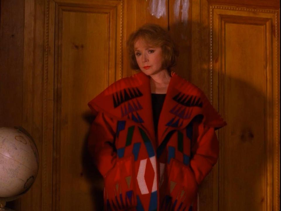 A wool blanket coat worn by Piper Laurie on Twin Peaks