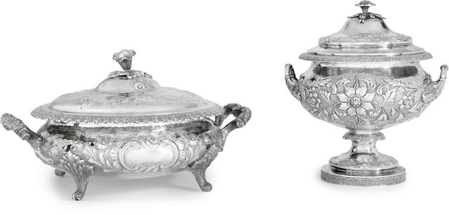 Two American coin silver  covered bowls by various makers, Philadelphia, mid-19th century