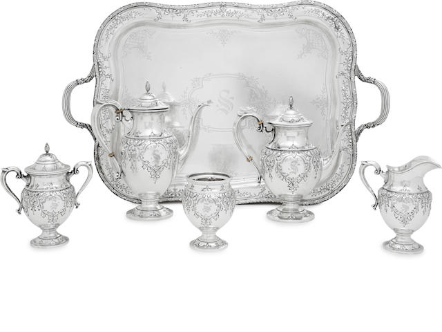 An American sterling silver five-piece tea and coffee service and matching silver two-handled tray by Fisher Silversmiths, Jersey City, NJ, first half 20th century