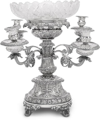 A George IV sterling silver  four-arm epergne centerpiece by Rebecca Emes & Edward Barnard, London, 1824