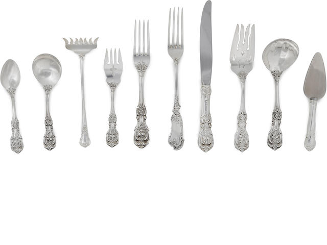 An American sterling silver flatware service for twelve by Reed & Barton, Taunton, MA, mid-to late 20th century