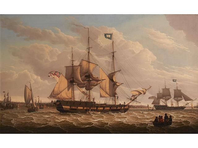 Robert Salmon (Anglo/American, 1775-1845) Shipping off Birkenhead 27 x 43-1/2 in. (68.5 x 110.4 cm.)