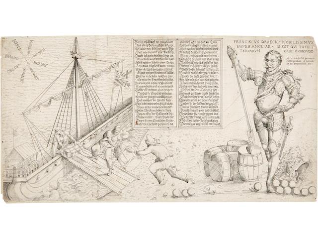 DRAKE, FRANCIS. c.1540-1596. [JENICHEN, BALTHASAR.] Franciscus Draeck nobilissimus eques Angliae is est qui toto terrarum orbe circumdugo. [Nuremberg, c.1581 or c.1589].