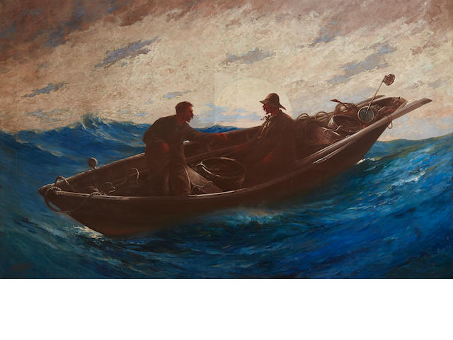Milton James Burns (American, 1853-1933) Fishing on the Grand Banks 35 x 55 in. (88.9 x 139.7 cm.)