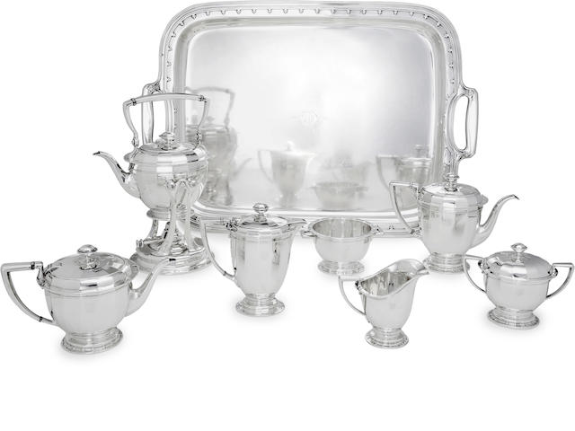 An American sterling silver seven-piece tea and coffee service with matching rectangular two-handled trayby Tiffany & Co., New York, NY, circa 1917