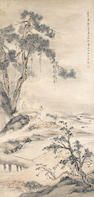 Attributed to He Chong (1807-1883) Two paintings of Scholars in Landscape