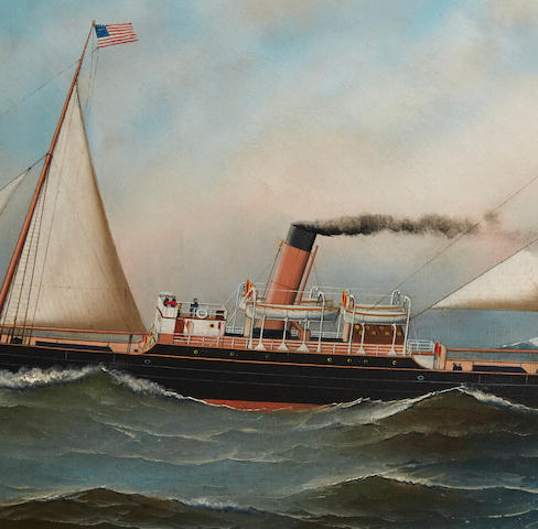 Antonio Nicolo Gasparo Jacobsen (American, 1850-1921) The S.S. Manhanset at sea 22 x 36 in. (55.8 x 91.4 cm.)