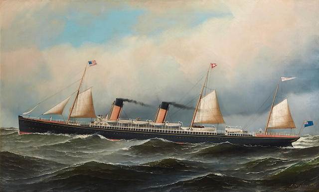 Antonio Nicolo Gasparo Jacobsen (American, 1850-1921) The R.M.S. Majestic of the White Star Line at sea 22 x 36 in. (55.8 x 91.44 cm.)
