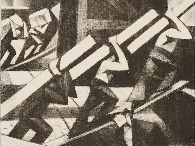 Christopher Richard Wynne Nevinson A.R.A. (British, 1889-1946) Loading the Ship Lithograph, 1917, an excellent crisp impression with strong contrasts, on watermarked Antique de luxe laid, signed in pencil, from the edition of 25, with full margins, 432 x 338mm (17 x 13 1/4in)(I)