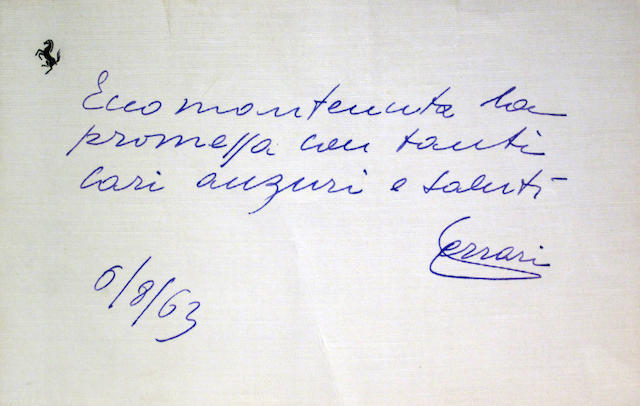 A personal note from Enzo Ferrari, 1963,
