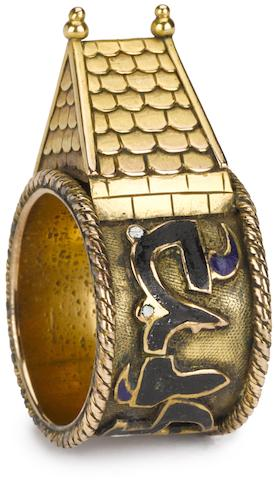 A Continental gold and enamel marriage ring 20th century in 16th century style, the broad band with Hebrew inscription, surmounted by a roof.
