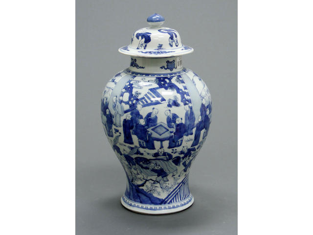 A blue and white jar and cover with figural decoration  Republic period