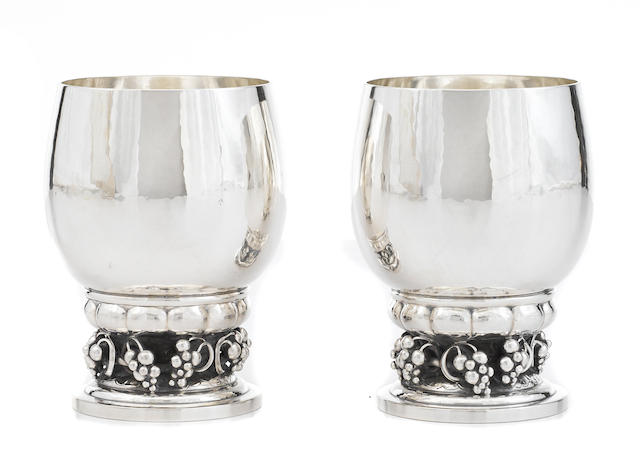 A pair of Danish sterling silver  footed goblets by Georg Jensen Silversmithy, Copenhagen, post-1945