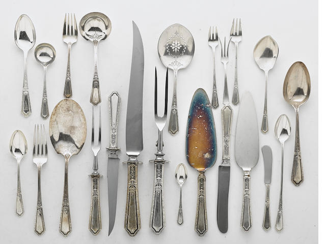 An American  sterling silver  part flatware service for twelve by Towle Silversmiths, Newburyport, MA, 20th century