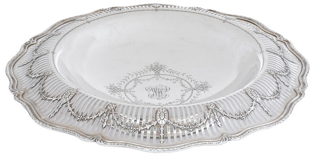 An American  sterling silver  Neoclassical style reticulated footed center bowl by Shreve & Co., San Francisco, CA, circa 1910