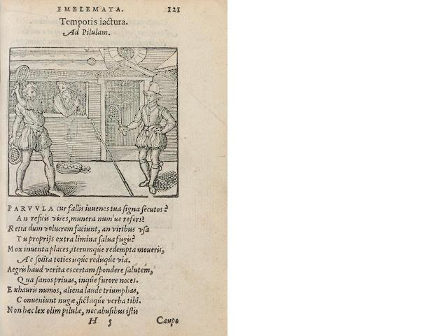 SAMBUCUS, JOHANNES. 1531-1584. Emblemata, et aliquot nummi antiqui operis. Antwerp: Christopher Plantin, 1569.