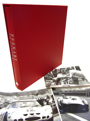 Geoffrey Goddard & Doug Nye: Ferrari in Camera; together with three original prints from the Goddard Picture Library,
