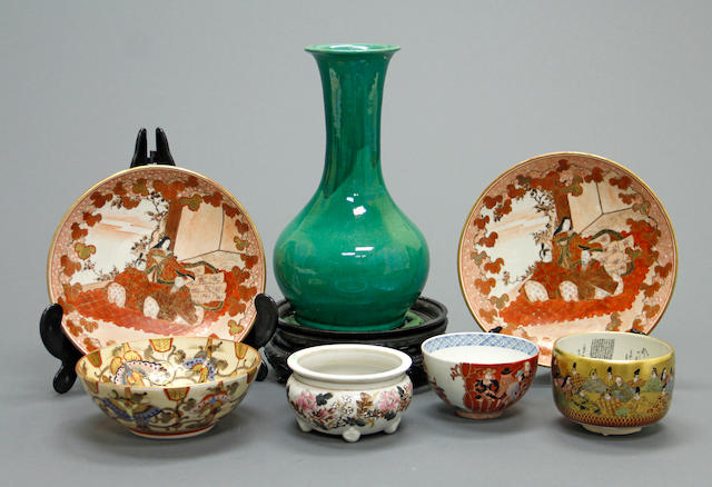 A group of seven Japanese ceramics