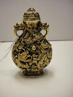An impressive gold-plated silver and copper dragon snuff bottle  Qianlong mark