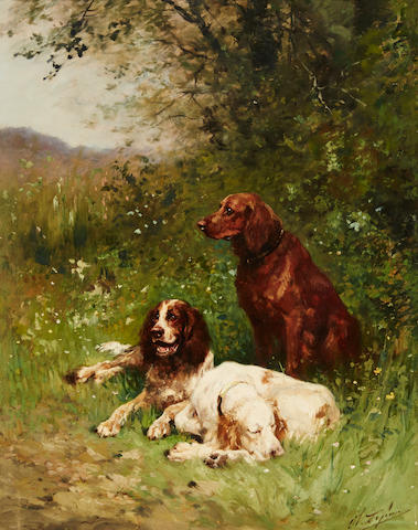 Charles Olivier de Penne (French, 1831-1897) Gun dogs at rest, a pair each 15 3/4 x 12 1/2in. (40 x 32cm.)